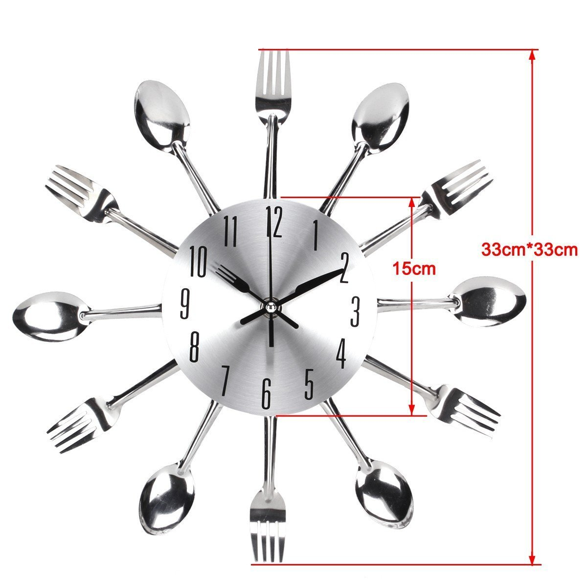 Kitchen Wall Clock, Timelike 3D Removable Modern Creative Cutlery Kitchen Spoon Fork Wall Clock Mirror Wall Decal Wall Sticker Room Home Decoration (Sliver)