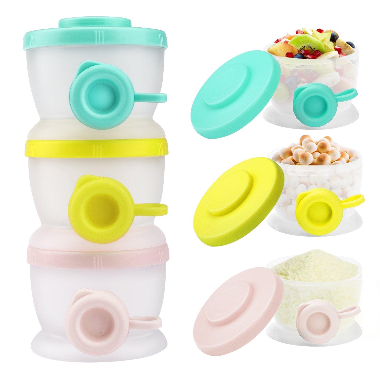 Zooawa Dispensador de Leche en Polvo y Contenedores de Almacenamiento sin BPA para Viajes Multicolor 3 Compartimientos F/órmula