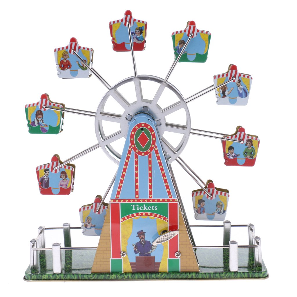 Dovewill Retro Wind up Spinning Ferris Wheel with Music Movement Clockwork Metal Tin Toy Collectible Gift by Dovewill (Image #3)