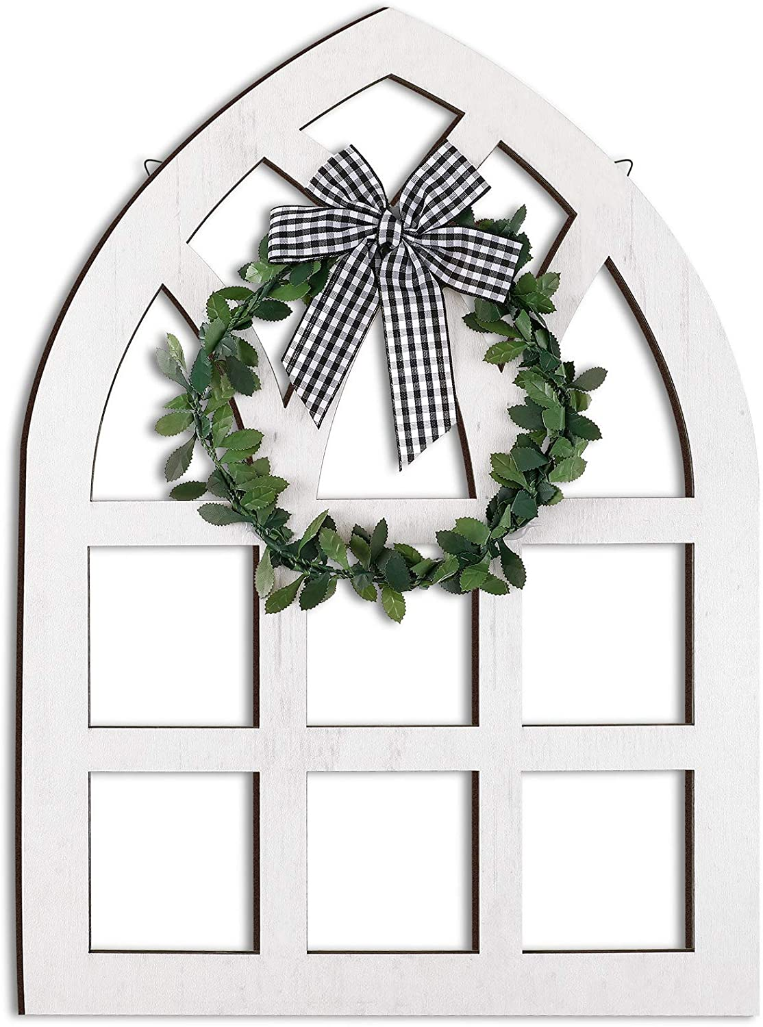 Large Wooden Farmhouse Window Wall Decoration Rustic Farmhouse Decor Cathedral Arch Window Sign with Plaid Bow and Green Wreath for Tiered Tray Shelf Spring Home Wall Decor (White)