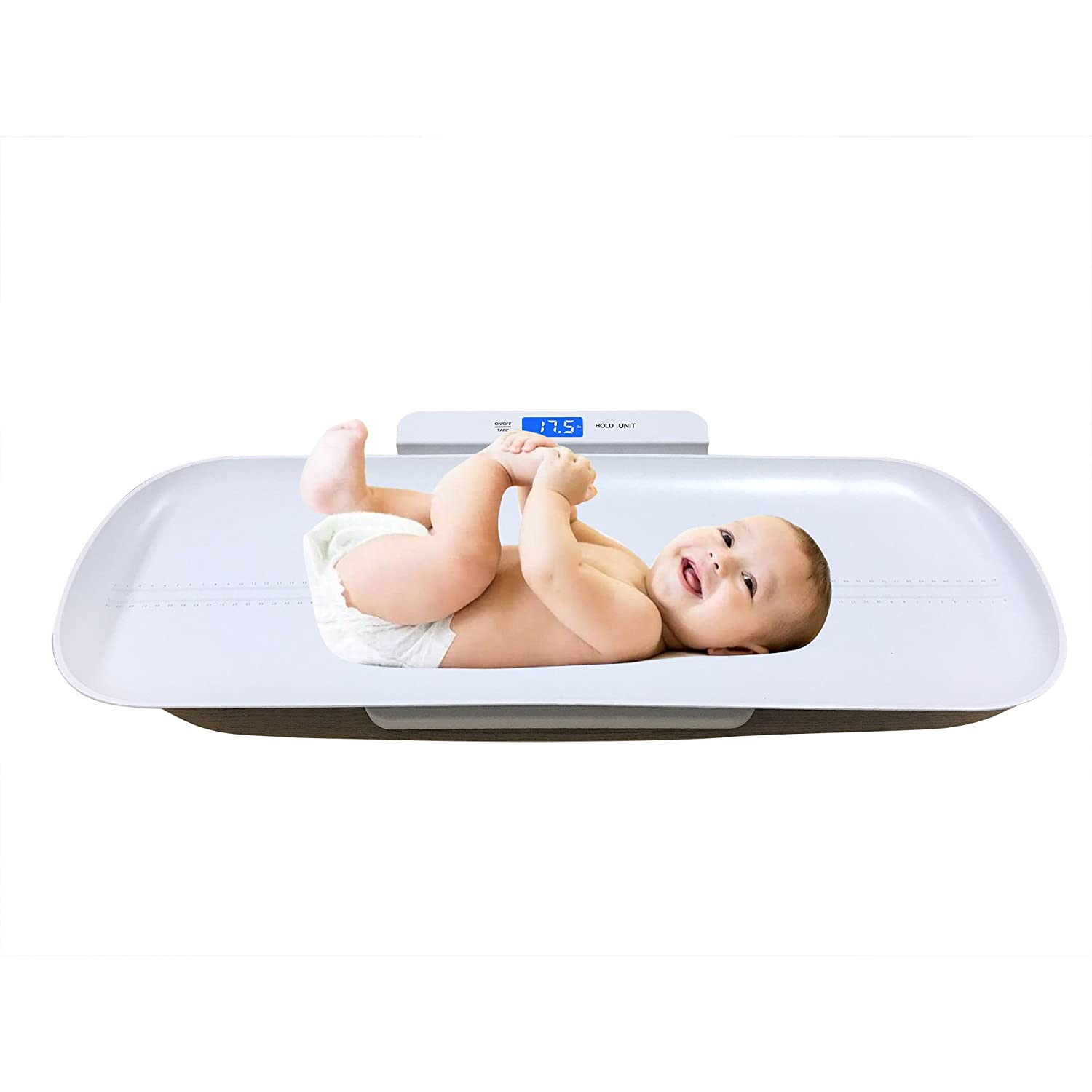 Multi-Function Digital Baby Scale Measure Infant / Baby / Adult Weight Accurately, 220 Pound (lbs) Capacity with Precision 10g, Blue Backlight, Kg/oz/lb available (White, 70cm) iSnow-Med