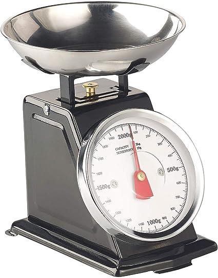 Rosenstein & Söhne - Báscula de cocina analógica, hasta 2 kg, con función de tara, color negro: Amazon.es: Hogar