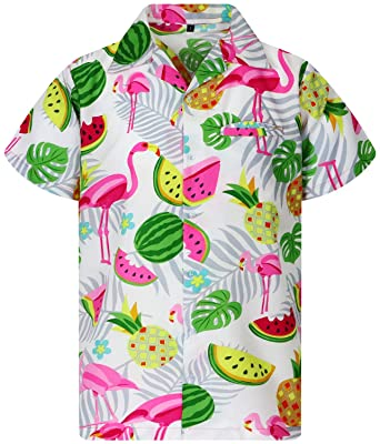 f6a3e26e King Kameha Funky Hawaiian Shirt Men Shortsleeve Frontpocket Hawaiian-Print  Melon Flamingo Fruits
