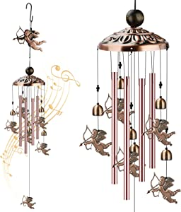 FOUUA Angel Wind Chimes, Cupid Copper Wind Chimes Indoor Outdoor Decor, Unique Windchimes Gifts for Home, Xmas Mom Gifts, Balcony, Festival, Garden Decoration (Cupid)