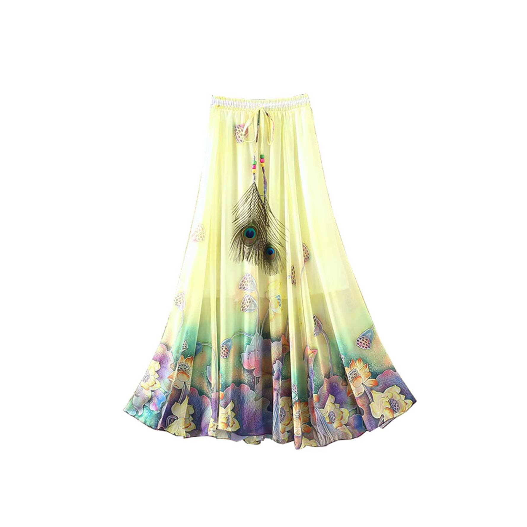 Kaxuyiiy Women's Peacock Feather Boho Lotus Flower Beach Party Maxi Long Skirt (Yellow)