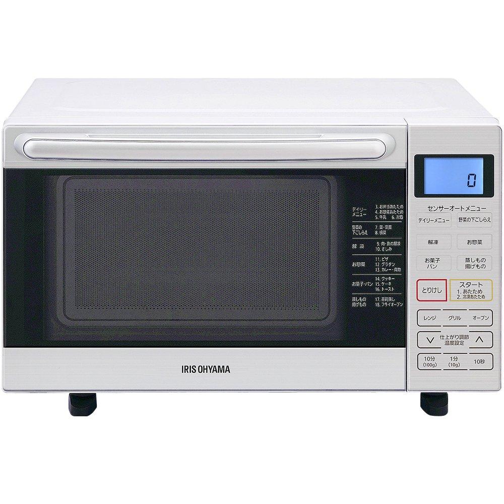 1位.アイリスオーヤマ オーブンレンジ 18L フラットテーブル ホワイト MO-F1801