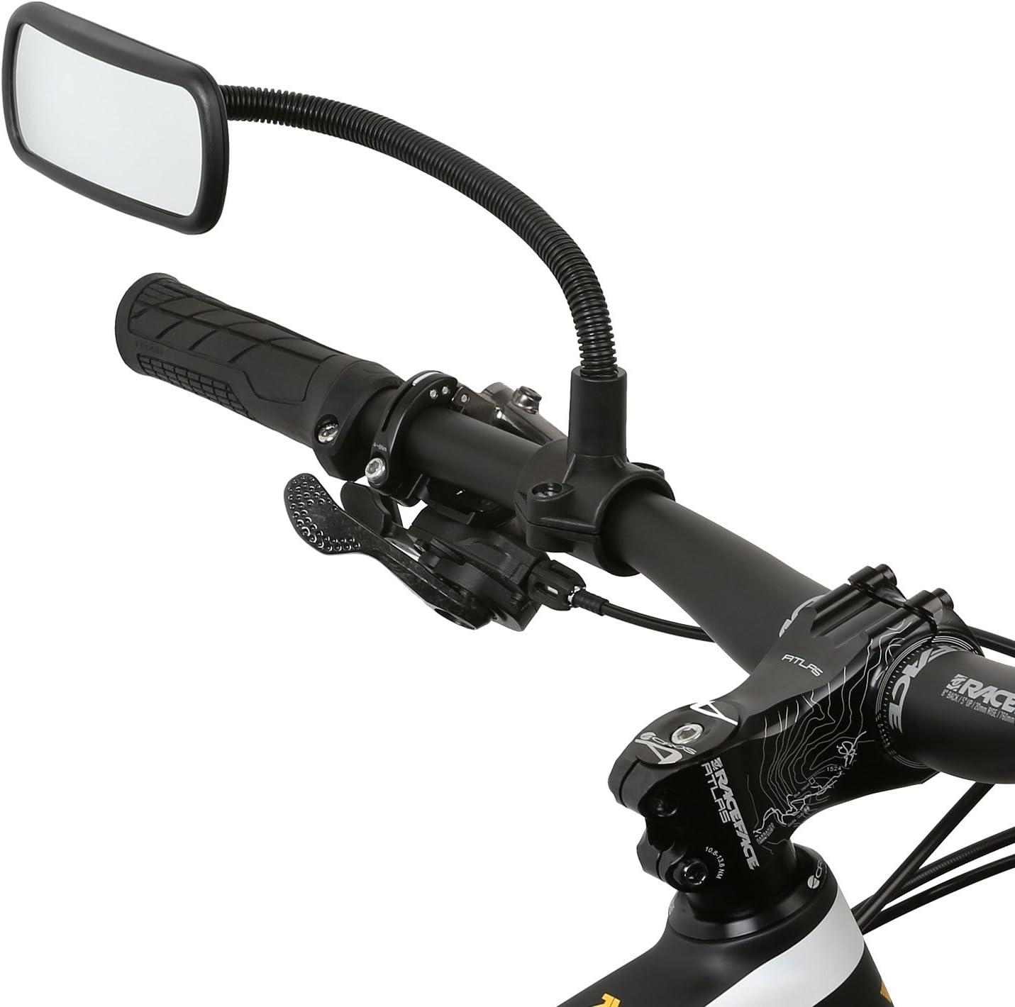 Wicked Chili–Espejo retrovisor para bicicleta, e-bike, monopatín, silla de ruedas, andador, cochecito, carro de golf, con cuello de cisne (Tamaño del Espejo: 104x 42mm, tubo de montaje, fabricado