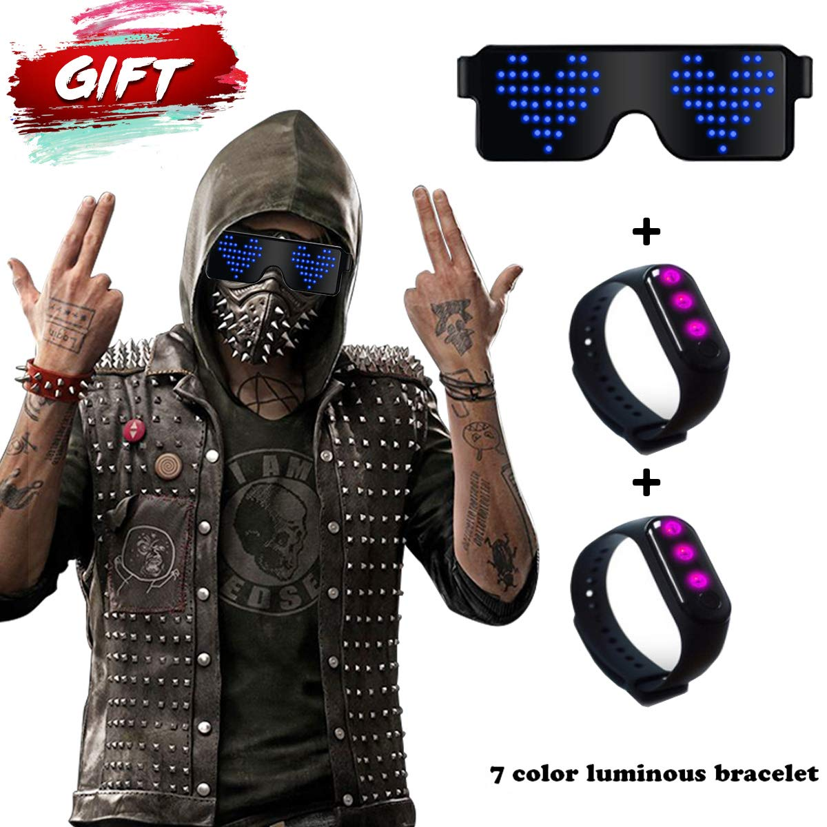 New Years party Supplies Birthday Parties Blue Halloween DJ RICISUNG Trustworthy 2019 LED Sunglass,Flashing Cool Party Light up Glasses can work in 8 Animation Modes for 10 Hours,For Nightclubs