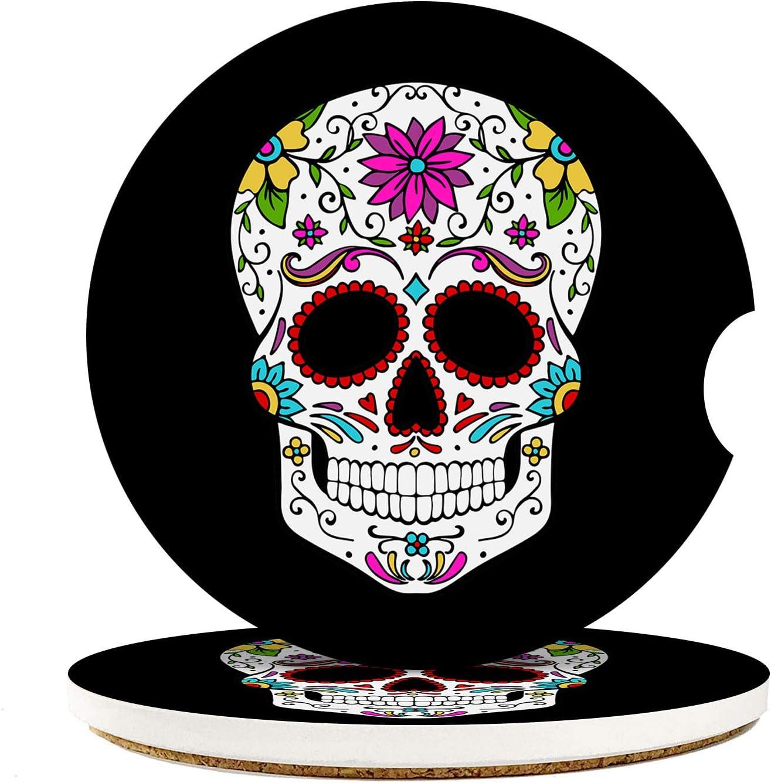Set of 2 Coasters Sugar Skull Car Coaster