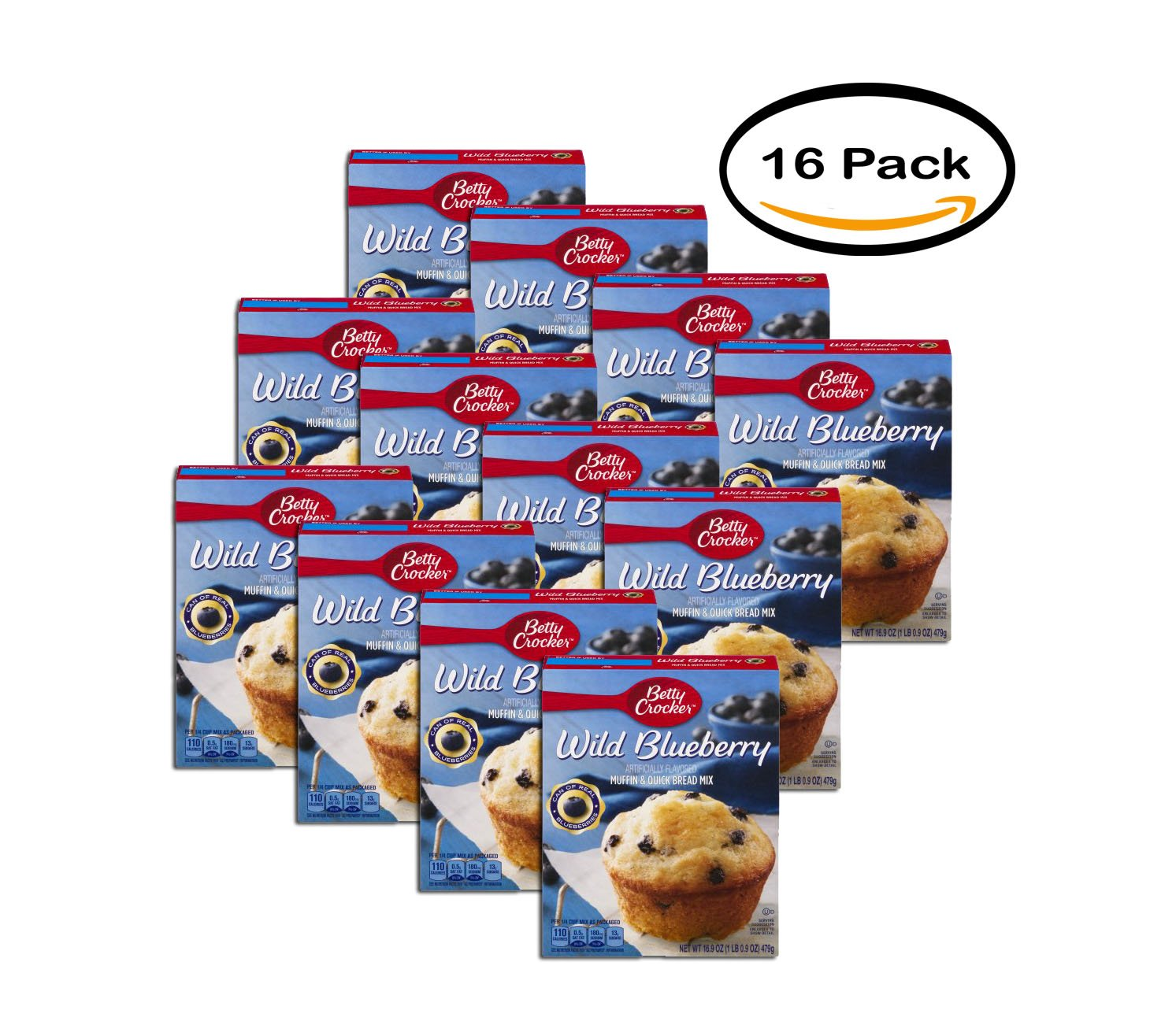 PACK OF 16 - Betty Crocker Muffin & Quick Bread Mix Wild Blueberry 16.9 oz Box, 16.9 OZ