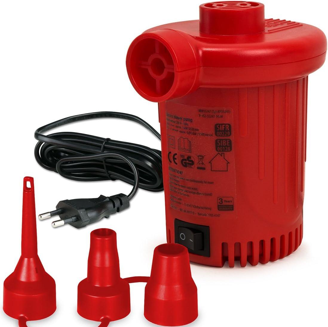 Deuba Bomba de aire el/éctrico Rojo de 230V con 3 adaptadores e interruptor hincha flotadores piscinas 550l//min