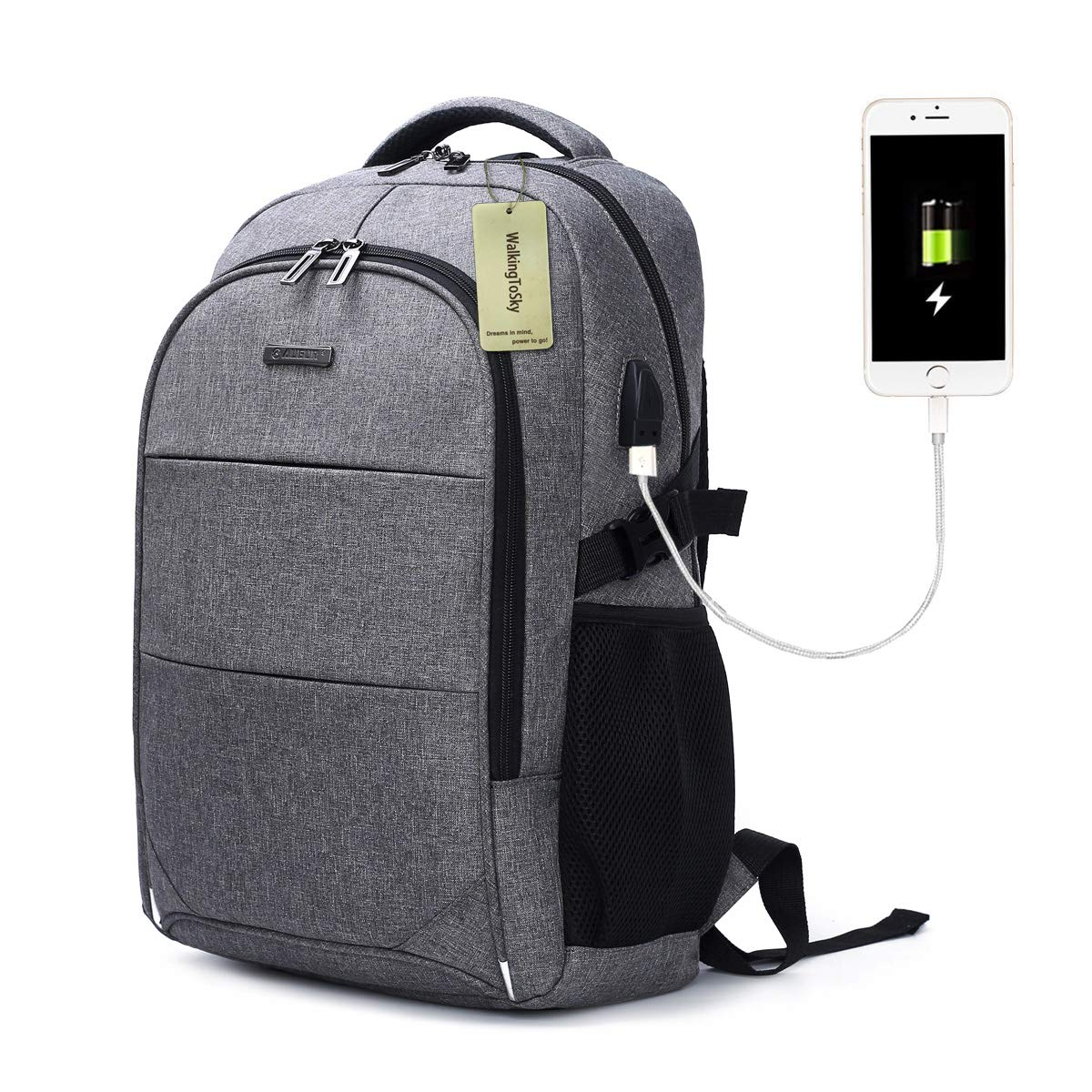 Laptop Backpack with USB Charging Port Travel Computer Bag for Women and Men Anti Theft Water Resistant College School Bookbag Slim Business Backpack Fits 15.6 inch Laptop and Notebook WalkingToSky WS-9055GR-CA