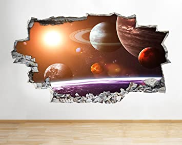 Wall Stickers Earth Space Moon Planet Boys Bedroom Smashed Decal 3D Art