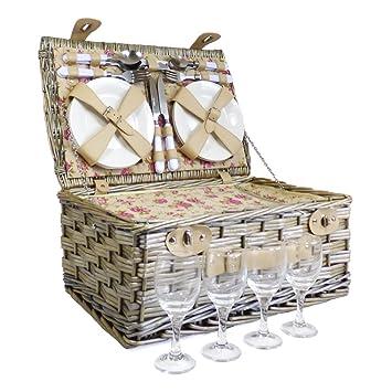 Grosvenor panier pique-nique - 4 personnes osier équipée bourriche avec construit dans le refroidisseur et accessoires Q6W1sO