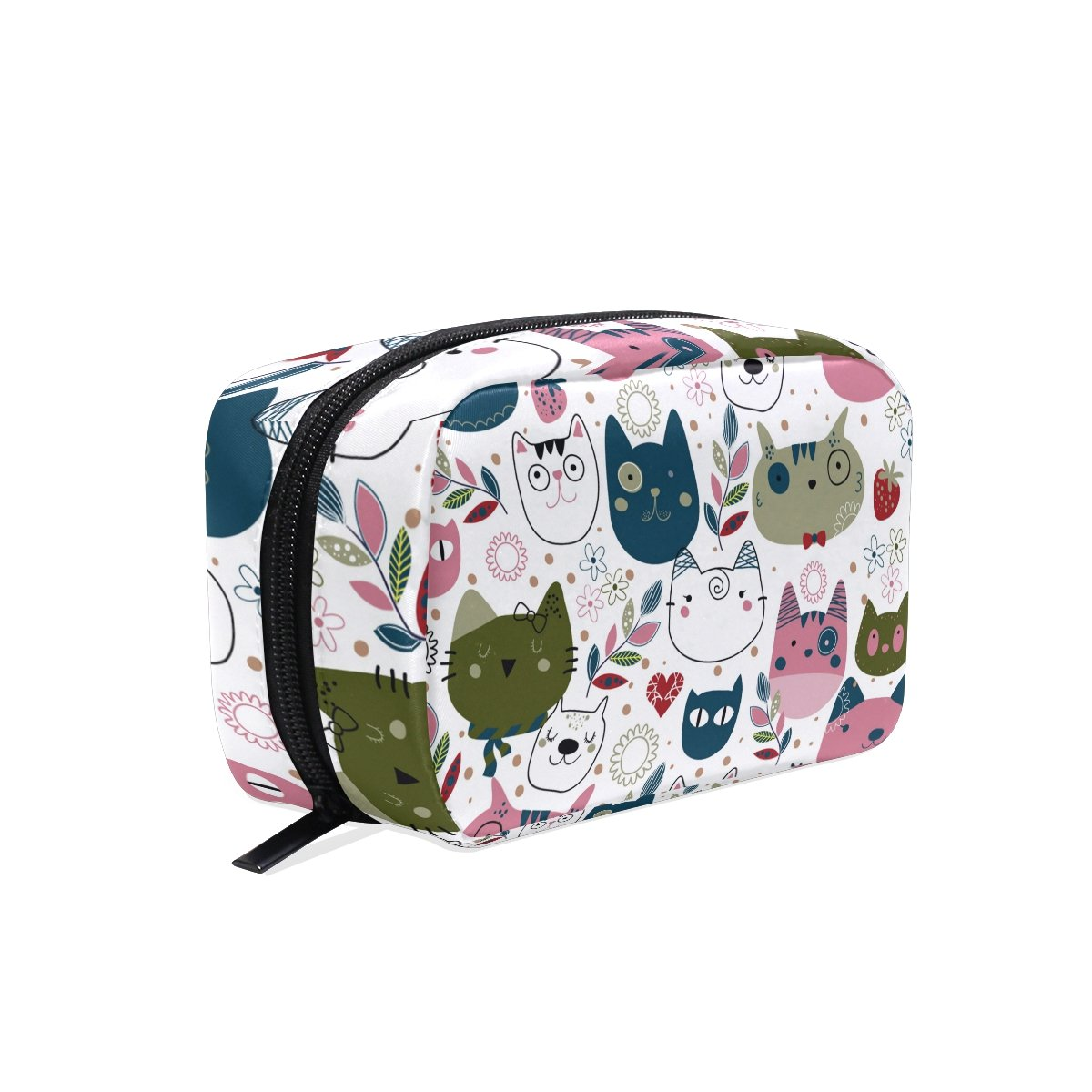 ALAZA Pattern With Cute Cat Heads Makeup Case Bag Appropriate Capacity Portable Beauty Girl And Women Cosmetic Bags Storage Bags for Travel