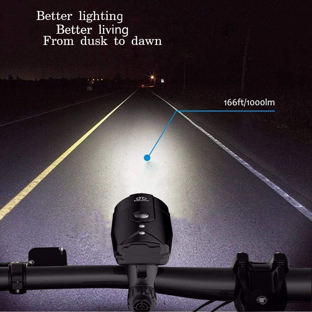 Luz de la Bicicleta de 1200 L/úmenes Luz de la Bicicleta Faro LED Luz Trasera Recargable USB Linterna MTB Ciclismo Linterna de Bicicleta