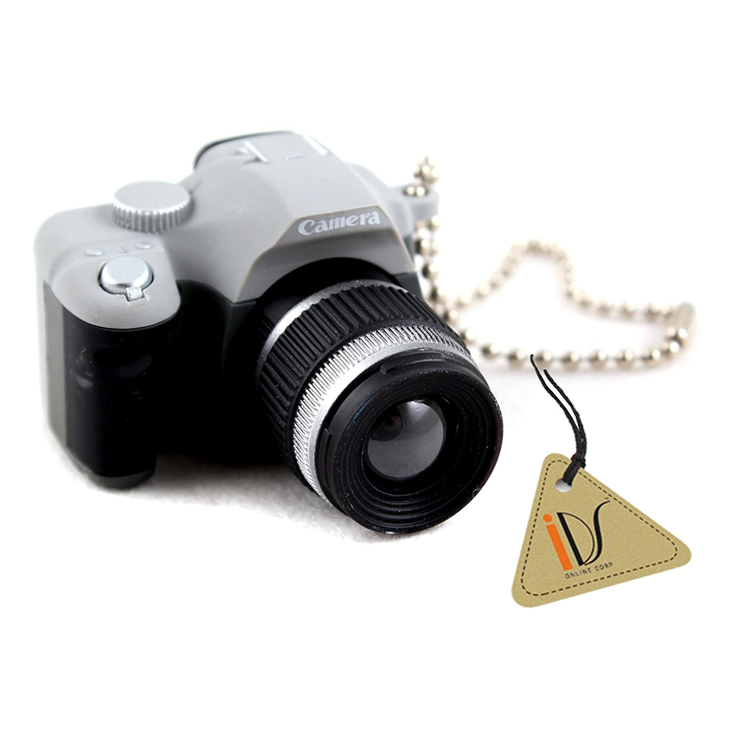 IDS Mini SLR Camera Toy Keychain Keyring Flash Torch Charm Ornament Decoration