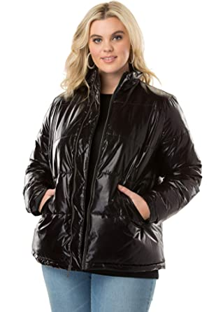 75cc2aef078 Roamans Women s Plus Size Metallic Ultimate Puffer Jacket at Amazon Women s  Clothing store