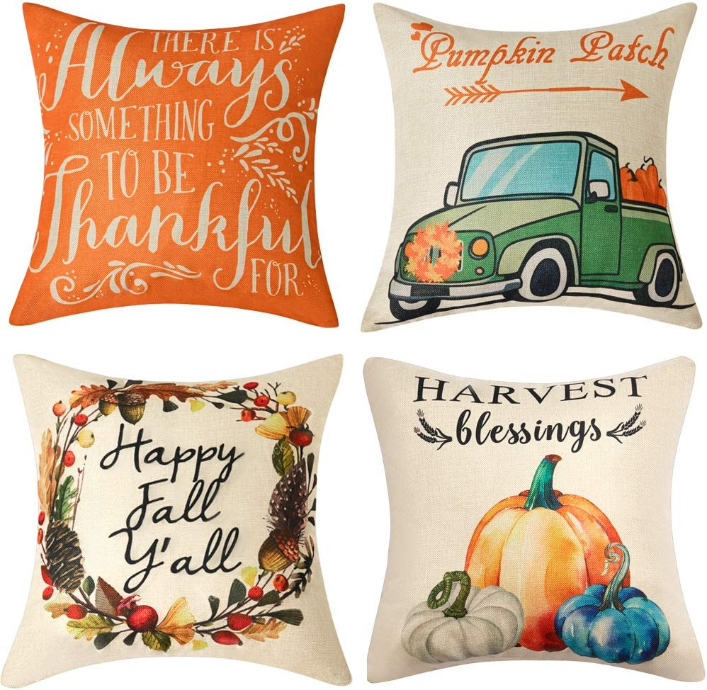 Anickal Set of 4 Thanksgiving Pillow Covers Harvest Blessings Pumpkin Patch Fall Autumn Farmhouse Decorative Throw Pillow Covers 18x18 Inch for Sofa Couch Decor