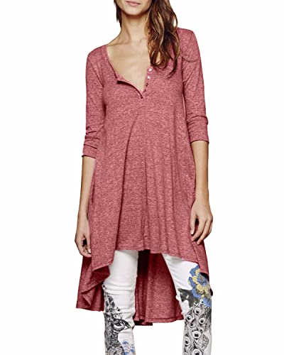 StyleDome Blusa Camiseta Larga Asimétrica Casual Elegante Verano Algodón Mangas 3/4 para Mujer Rosa EU 54
