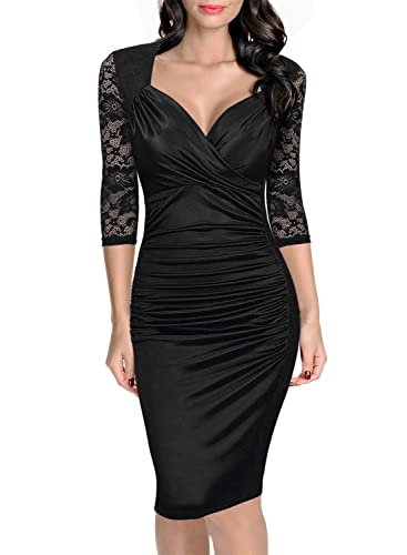 Belace Women's V-neck Fold Patchwork Bodycon OL Dress