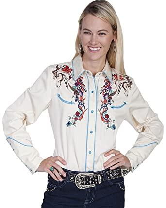 294755ed Scully Women's Colorful Horse Embroidered Long Sleeve Shirt Cream X-Small