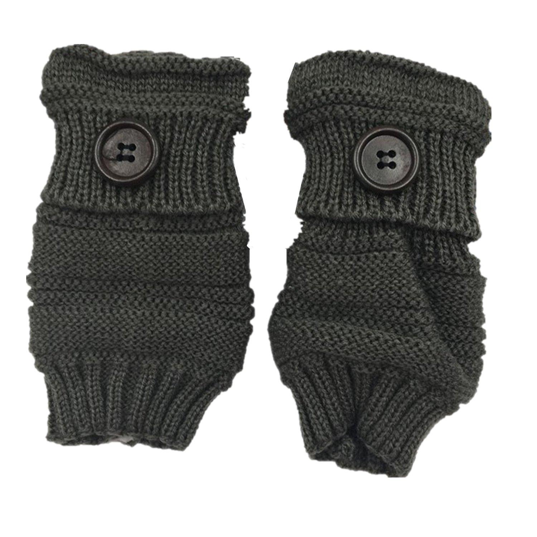Glove Fingerless for Men Women Winter Warm Thumb Holes Gloves Mitten Solid Color (Dark gray)