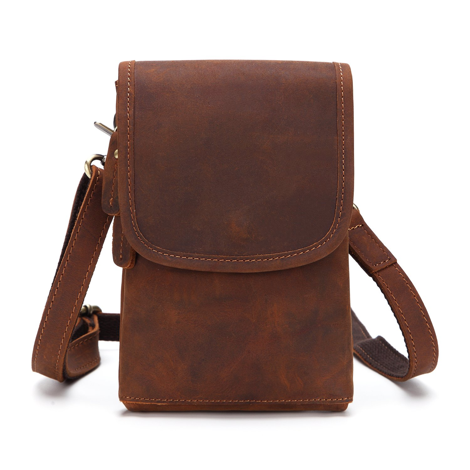 Leather pockets, belts, men's shoulder bags, first layer of leather, retro small shoulders, diagonal bags, mobile phone bags