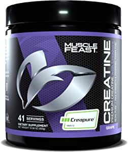 Muscle Feast Creapure Creatine Monohydrate Powder | Premium Pre-Workout or Post-Workout | Easy to Mix, Gluten-Free, Safe and Pure, Kosher Certified (300g, Grape)