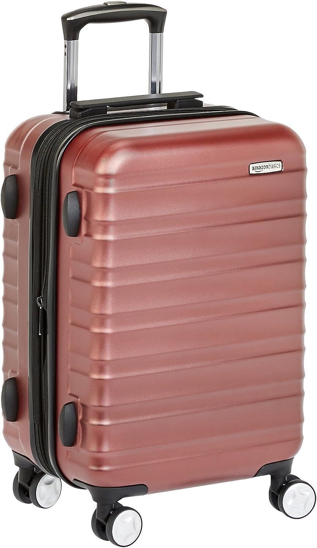 AmazonBasics - Maleta de mano rígida de alta calidad, con ruedas y cerradura TSA incorporada, 55 cm, Rojo