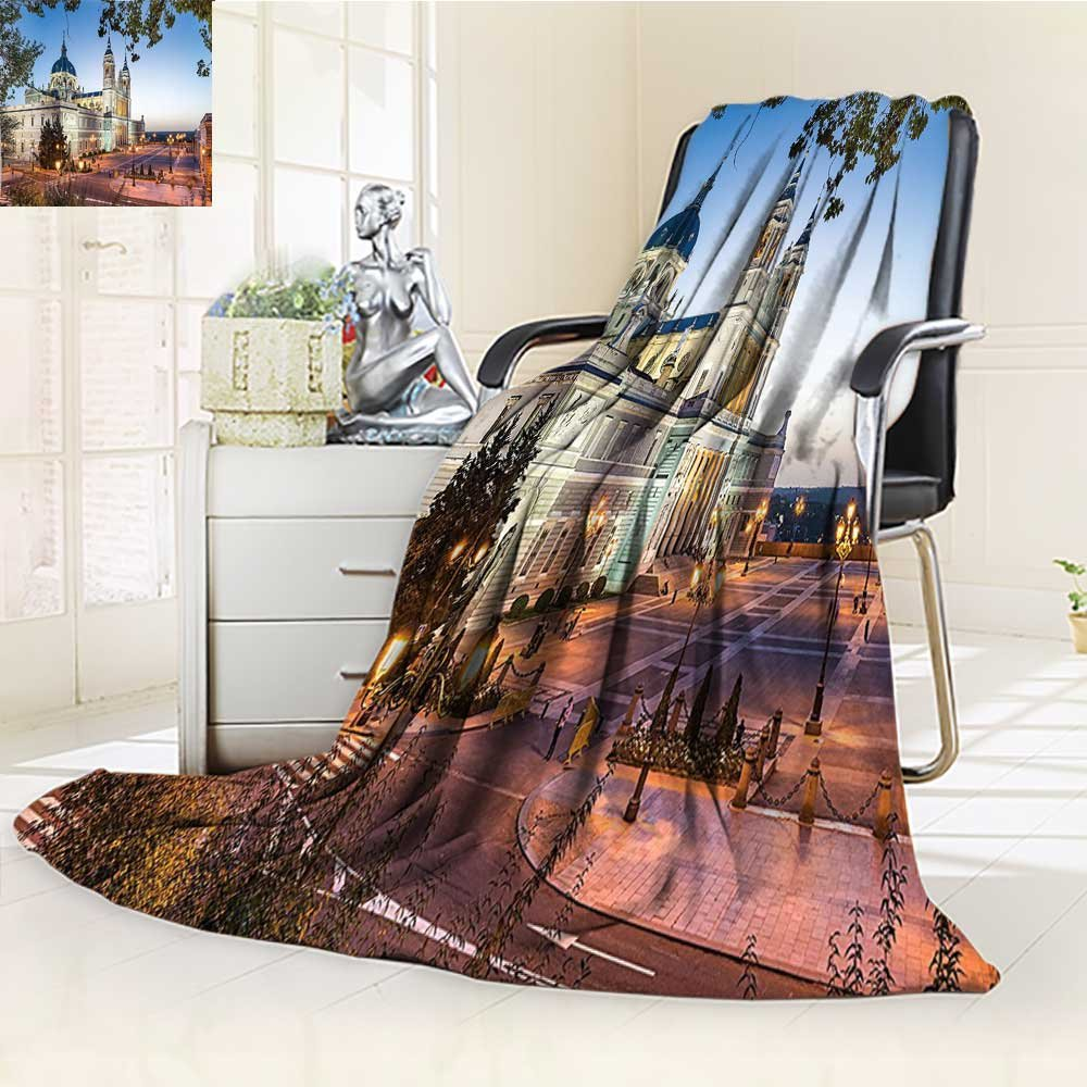 durable modeling AmaPark Custom Design Cozy Flannel Blanket Cathedral And Royal Palace In Madrid Mediterrenean Mod City Europe Urban Print Custom Design Cozy Flannel Blanket