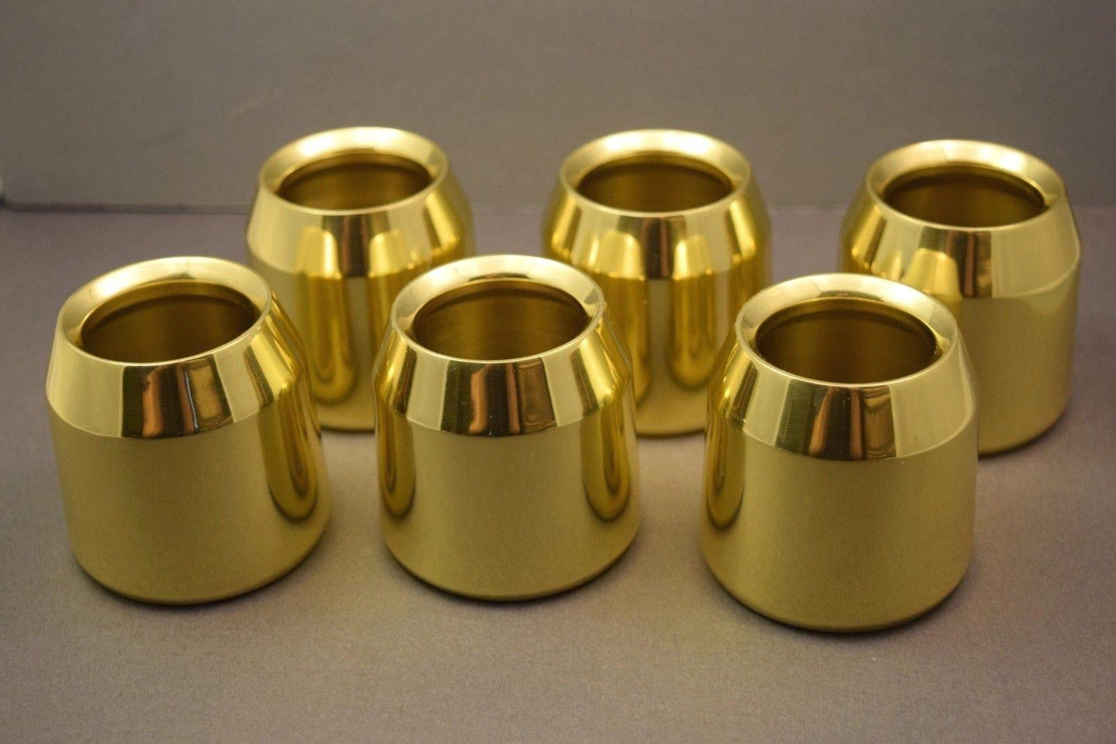 Set of 6 Solid Brass Church Candle Followers - 2'' Size