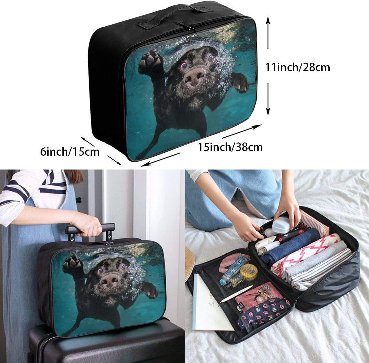 Cute Underwater Puppies Travel Carry-on Luggage Weekender Bag Overnight Tote Flight Duffel In Trolley Handle