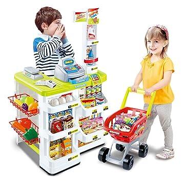 3385280515d6 Flicker Kids Supermarket Shop Play Role Set Children Superstore Trolley  Till Scanner Til