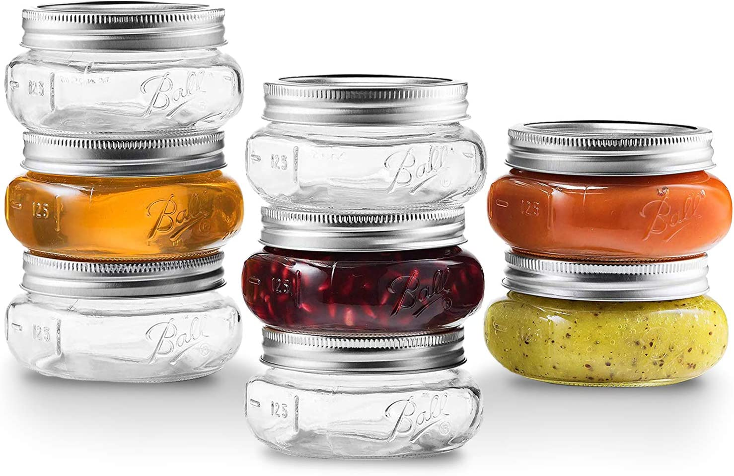 Ball Wide Mouth Mason Jars 8 oz [8 Pack] With Airtight lids and Bands - For Canning, Pickling And Preserving, Jams, Sauces - Wide Mouth Jars Freezer, Microwave And Dishwasher Safe + SEWANTA Jar Opener