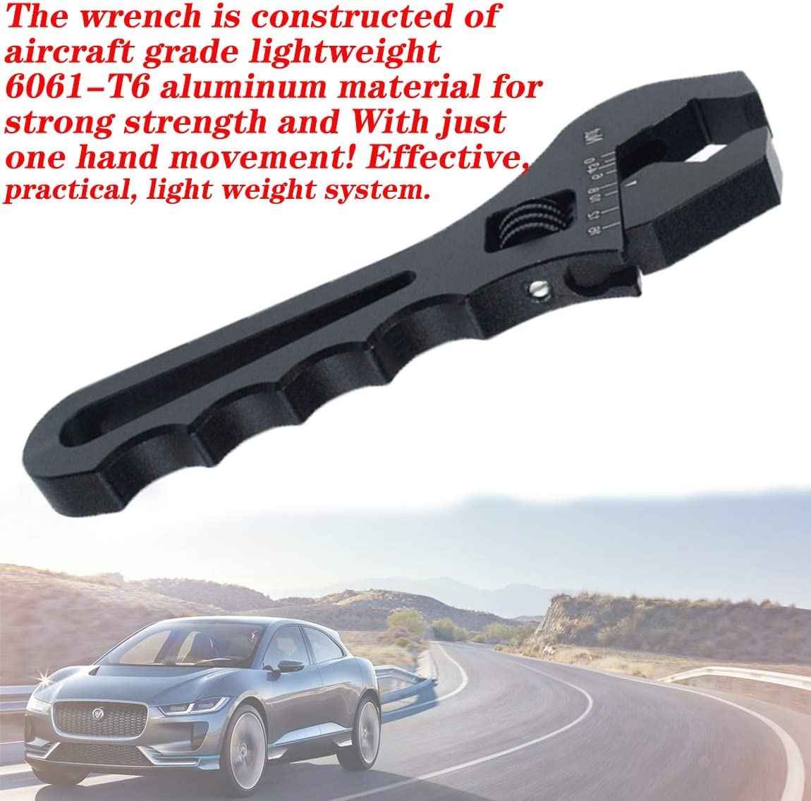3AN-16AN Adjustable Wrench,Lightweight Aluminum Spanner Tools,for An Hose Fitting Adapters Ends,Black by NAKAO