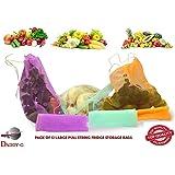 Multi-Purpose Pull String Mesh Fridge Vegetable Storage Bags (2 Pack) Large (12 Bags)
