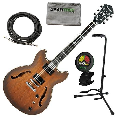 Ibanez as53tf como Artcore Semi hueca guitarra eléctrica tabaco soporte de W/gamuza de geartree