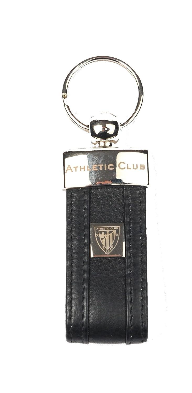 Athletic Club Bilbao Llavero Oficial Piel Negro con Escudo Metálico y Grabado con Letras