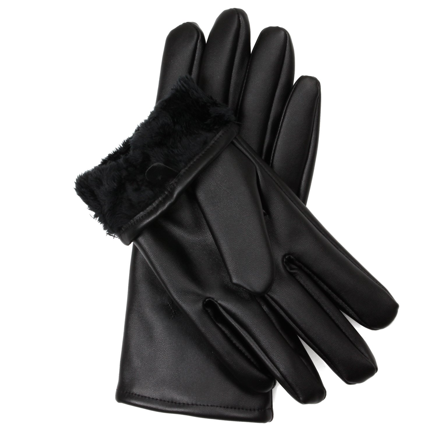 Fake leather driving gloves - Amazon Com Men S Fur Lined Faux Leather Gloves With Touchscreen Technology X Small Black Clothing