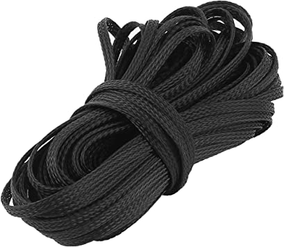 uxcell Black Nylon Braided Expandable Cable Sleeve