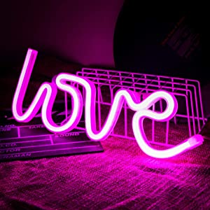 QiaoFei Love Neon Sign,LED Love Light for Children Kids Gifts Party Supplies, Girls Room Decoration Accessory,Table Decoration Pink