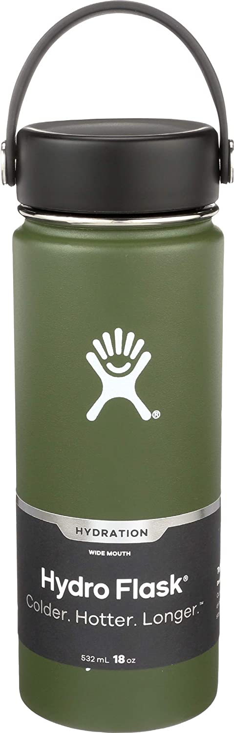 Hydro Flask, Bottle 18 Ounce Capacity Wide Mouth With Flex Cap Olive