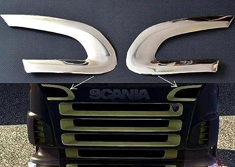 2 espejos decorativos de acero inoxidable para parte superior de SCANIA RP 2004 – 2009