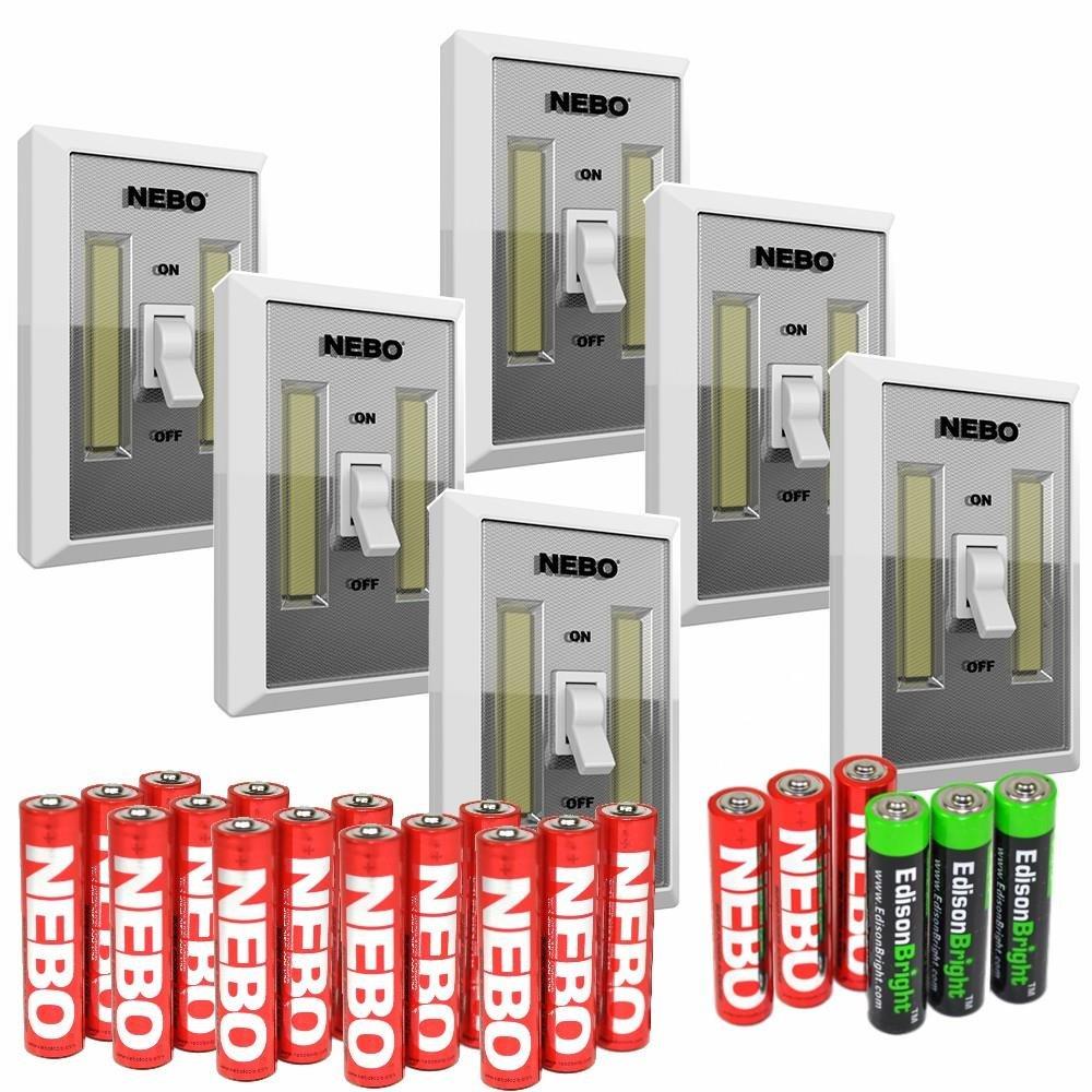 6 Pack Nebo Flipit 215 lumen COB LED room/closet/shed light 6523 with 3 X EdisonBright AAA Alkaline batteries bundle