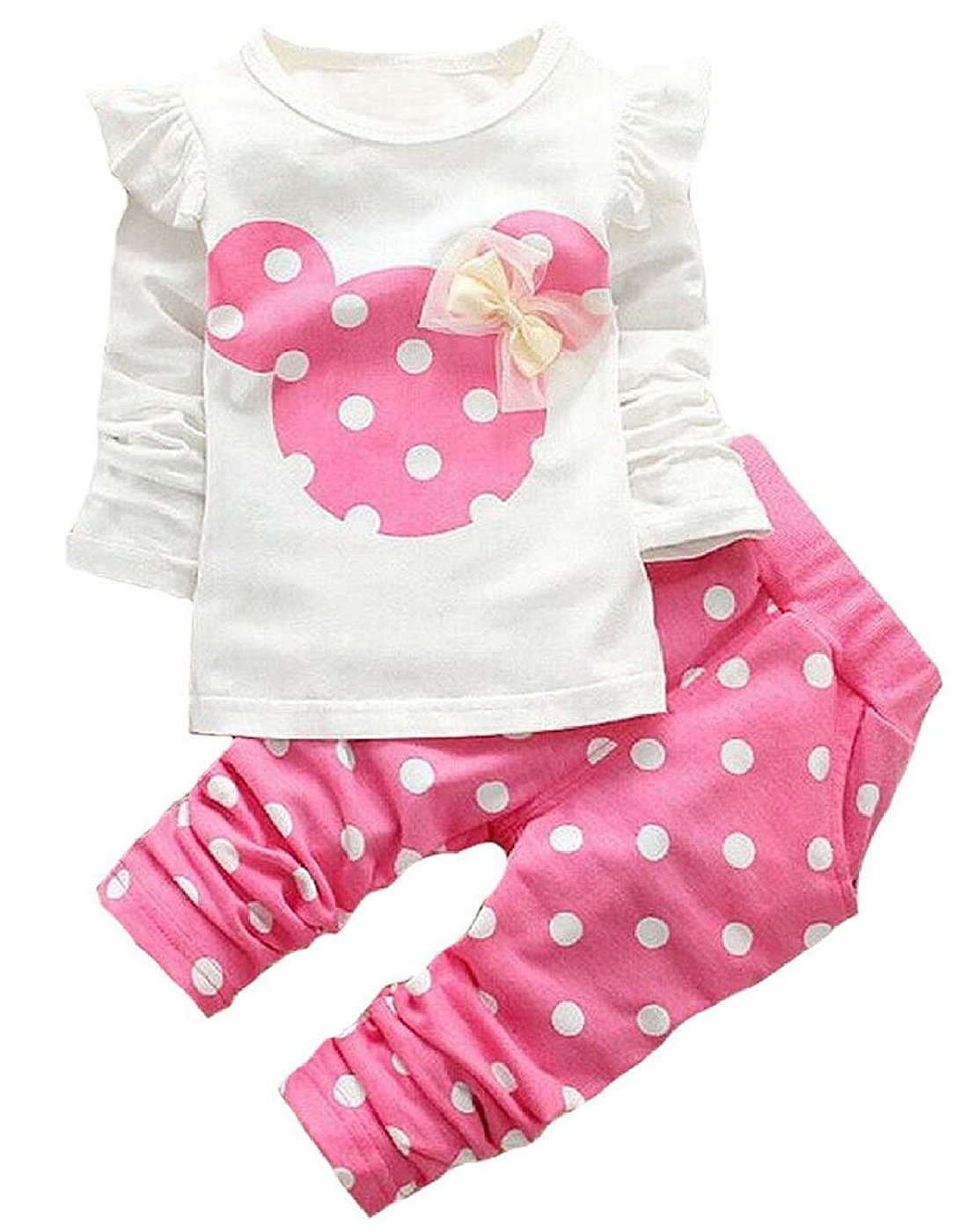 Cute Toddler Baby Girls Clothes Set Long Sleeve T-Shirt and Pants Kids 2pcs Outfits(White+Pink,2T)