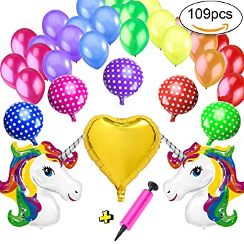 cotigo Decoracion Unicornio Cumpleaños 2 Unicornios Gigantes Arcoíris, 5 Lunares Globos de Aluminio, 1 Globos Corazon, 100 Globos y 1 inflador de ...
