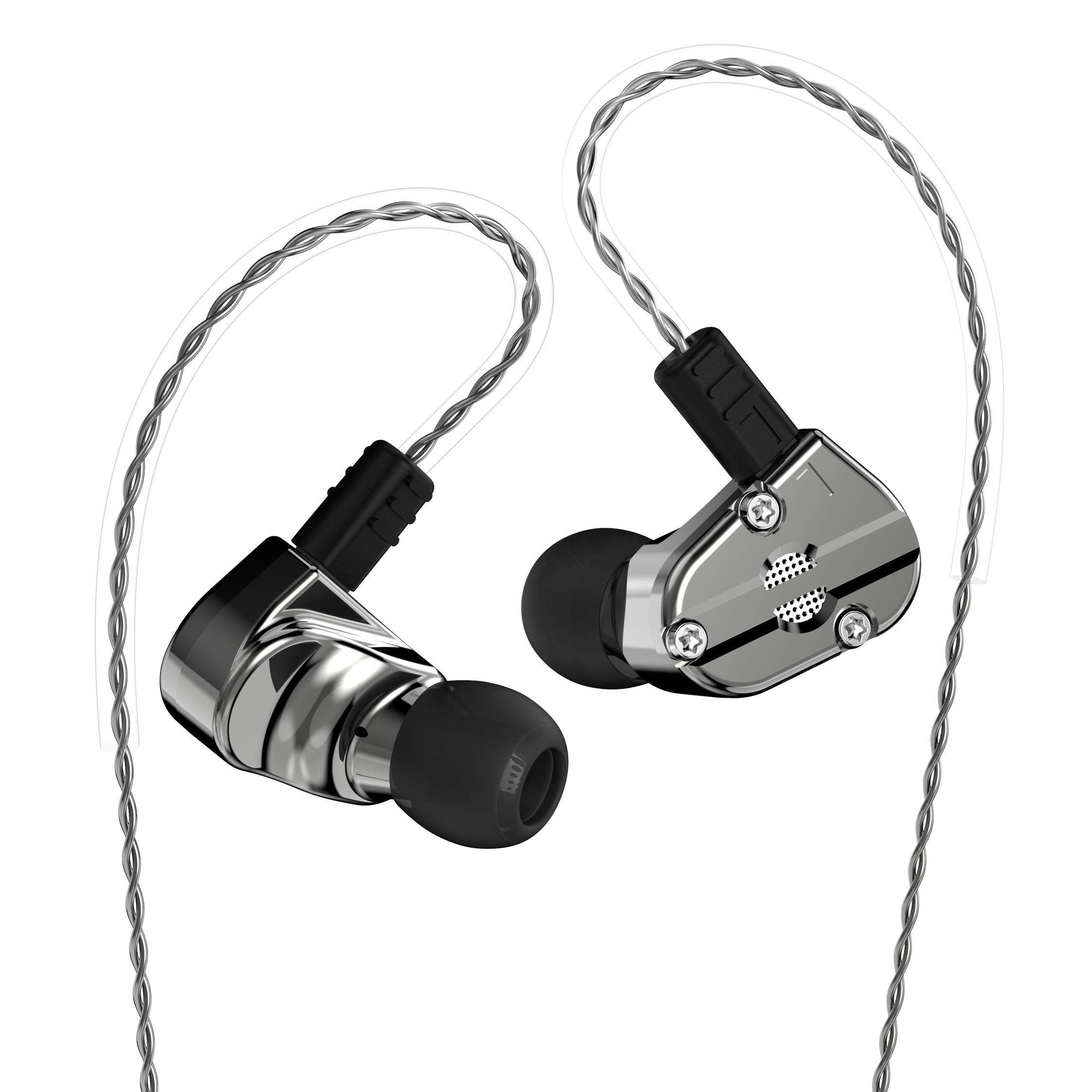 Revonext QT5 1DD+1BA Hybrid In Ear Earphone, Professional-Quality in ear Monitor,Metal Housing Noise Isolating Running Sport Headphones with Dynamic with 2 Pin 0.78mm Detachable Cable(Gun without mic) by Better