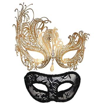 Amazon.com: Mascarada para parejas mujeres Metal Rhinestone ...