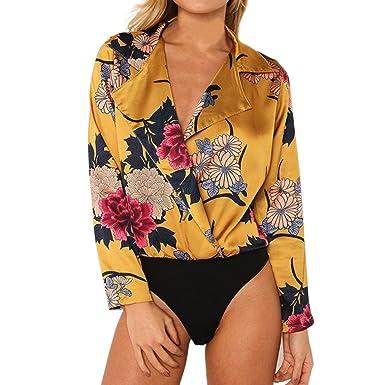Challeng Femmes Dames Floral Imprimé Tuxedo Wrap Over Satin Body  Jumpsuit,Chemise Femme Manche Longue,Chemise Femme Chic Et Sexy,Chemise  Femme Chic ... 1058f65bb4f6